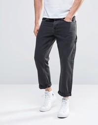 Черные укороченные джинсы прямого кроя ASOS - Выбеленный черный