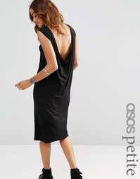 Платье миди без рукавов с драпировкой сзади ASOS PETITE - Черный