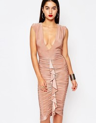 Платье миди с оборками спереди Missguided - Розовый