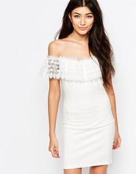 Платье с вырезом лодочкой и кружевными оборками Wyldr Mailey