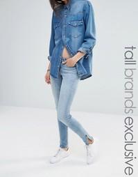 Светлые укороченные джинсы с молнией Noisy May Tall Eve - Синий