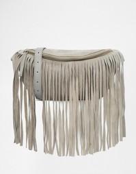 Замшевая сумка-кошелек на пояс с бахромой ASOS - Серый