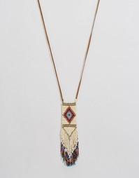 Длинное фестивальное ожерелье с подвеской из бисера ASOS - Мульти