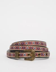Узкий ковбойский ремень с вышивкой Glamorous - Мульти