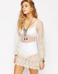 Пляжное платье с вышивкой Boohoo Boutique - Кремовый