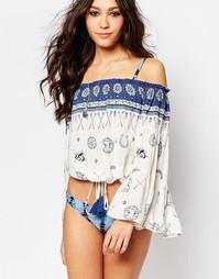 Пляжная блузка с принтом Surf Gypsy - Синий