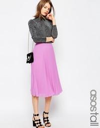 Юбка миди в складку для высоких ASOS TALL - Розовый