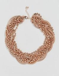 Кластерное ожерелье с плетеным дизайном Coast - Розовое золото