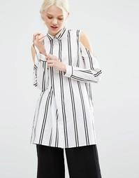 Рубашка в полоску с вырезами на плечах Monki - Полоски
