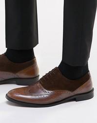 Коричневые кожаные оксфордские туфли с замшевыми вставками ASOS