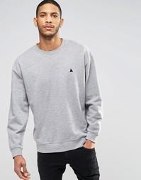 Серый меланжевый oversize-свитшот с вышивкой ASOS - Серый меланж