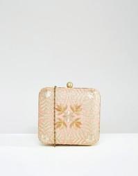 Клатч с выполненной вручную вышивкой Park Lane - Бледно-коралловый