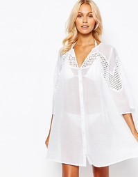 Пляжное платье на пуговицах с кружевом и V-образным вырезом ASOS