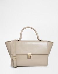 Кожаная сумка с короткой ручкой ASOS - Серый