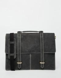 Черный кожаный портфель с контрастной строчкой ASOS - Черный