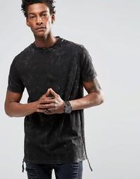 Черная футболка в стиле милитари с эффектом кислотной стирки ASOS