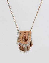 Фестивальное ожерелье с кошельком и бусинами ASOS - Коричневый