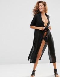 Пляжное платье-рубашка макси с завязкой на талии ASOS - Черный