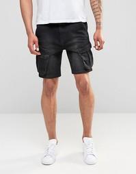 Черные джинсовые шорты слим ASOS - Черный