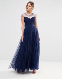 Платье макси из тюли с отделкой Little Mistress - Темно-синий
