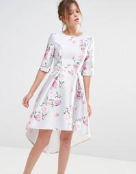 Платье миди с рукавами 3/4 Chi Chi London - Серый цветочный принт