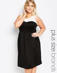 Короткое приталенное платье с контрастной вставкой Praslin Plus