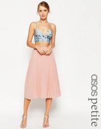 Плиссированная юбка миди ASOS PETITE - Зеленый