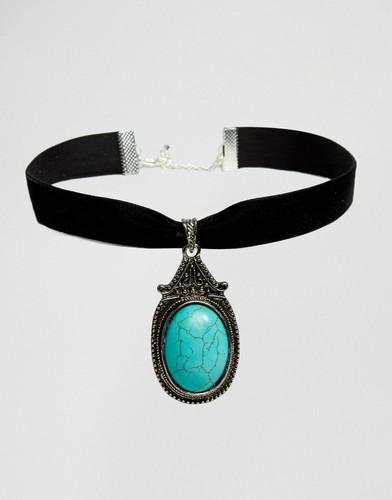 Ожерелье-чокер с полудрагоценным камнем Rock N Rose Zaria - Бирюзовый