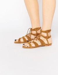 Светло-коричневые кожаные сандалии с завязкой Vero Moda - Рыжий