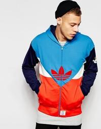 Худи с логотипом и вставками Adidas Originals - Синий