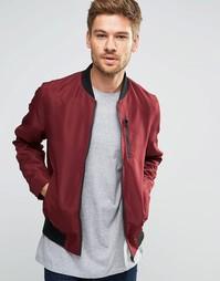 Куртка-пилот бордового цвета с нагрудным карманом ASOS - Burgundy