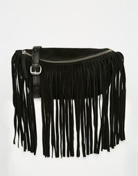 Замшевая сумка-кошелек на пояс с бахромой ASOS - Черный