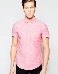 Рубашка из хлопка и льна с короткими рукавами Threadbare - Розовый