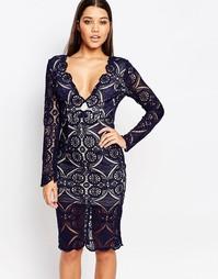 Кружевное платье миди с V-образным вырезом Love - Темно-синий