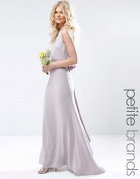 Свадебное платье макси с сатиновым бантом сзади TFNC Petite - Лаванда