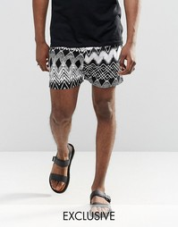 Фестивальные шорты с ацтекским принтом Reclaimed Vintage - Черный