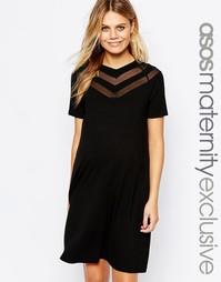 Платье-футболка с шевронным узором ASOS Maternity - Черный
