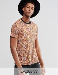 Фестивальная футболка с принтом пейсли Reclaimed Vintage - Коричневый