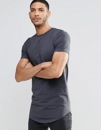 Выбеленная черная футболка облегающего кроя с асимметричным краем ASOS