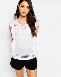 Блузка с рюшами Sisley - 101 белый