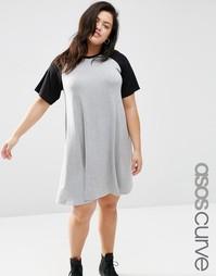 Свободное платье с контрастными рукавами реглан ASOS CURVE - Серый