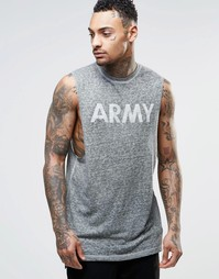 Длинная футболка без рукавов с принтом ASOS - Хаки