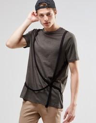 Удлиненная футболка с лямками в стиле милитари ASOS - Хаки