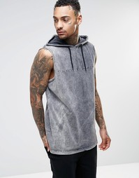 Oversize-футболка без рукавов с эффектом кислотной стирки и капюшоном Asos