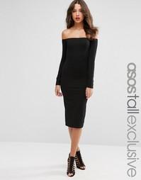 Облегающее платье миди с открытыми плечами и длинными рукавами ASOS TA