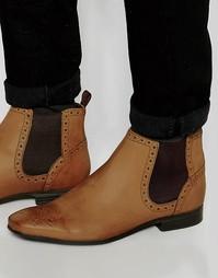 Светло-коричневые ботинки челси с декоративной перфорацией ASOS