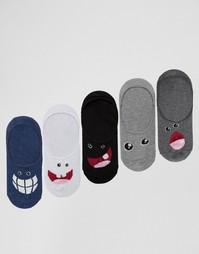 Набор из 5 пар незаметных носков со смешными лицами ASOS - Мульти