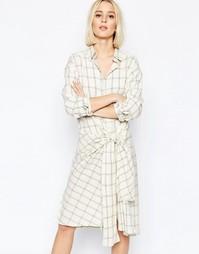 Платье-рубашка в клетку с завязкой спереди Weekday Ester - Кремовый