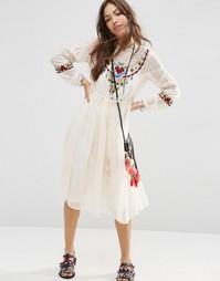 Платье с ацтекской вышивкой ASOS PREMIUM - Кремовый