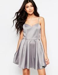 Приталенное платье с бантом на спинке Mela Loves London - Серый